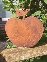 Gartendeko Apfel mit Dorn Metall Rost Deko