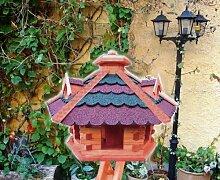 Gartendeko aus Holz , NEU: mit Futterschacht / Silo - Dosierung, + 3 Gauben als Fettspender-Dach mit ROT dunkelrot BLAU blaugrauEM DACH /ohne Ständer Bitumenschindeln Vogelhaus Futterhaus