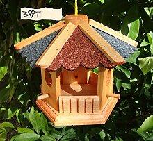 Gartendeko aus Holz Vogelfutter mit ROT BLAUEM DACH B35r-b Vogelhaus -Holz Nistkästen & Vogelhäuser- Futterhaus