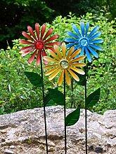 Gartendeko Blumen aus Metall 3er Set Blumen aus Metall Gartenblume Sonnenblume Blumen Dekoration Balkon
