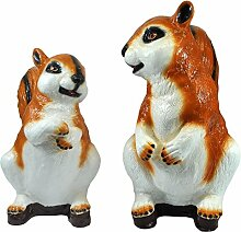 Gartendeko Eichhörnchen-Paar Gartenfiguren Streifenhörnchen Handarbeit Gartenzwerge
