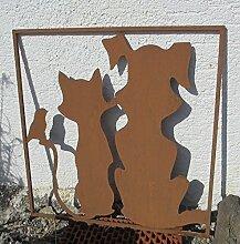 Gartendeko Eisen Rost Rahmen Hund Katze Vogel