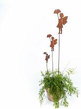 Gartendeko Elfe mit Blatt auf Stab Figur Metall Rost Deko Ostern 78cm
