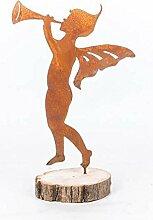 Gartendeko Elfe mit Fanfare und mit Dorn Baumfigur Metall Rost Deko