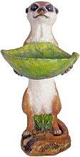 Gartendeko Erdmännchen mit Vogeltränke 2er-Set
