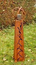 Gartendeko Fackelsäule Rost Fackel Säule 100cm mit Feuerkugel *
