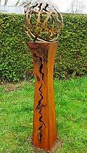 Gartendeko Fackelsäule Rost Fackel Säule 125cm tailliert mit Feuerkugel *