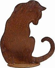 Gartendeko Figuren Metall - Edelrost Tier: Katze