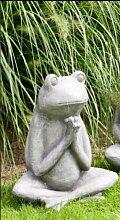 Gartendeko Frosch betend grau - wetterfes