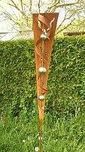Gartendeko Garten Skulptur Rost Stecker mit Glanz Edelstahlkugeln*