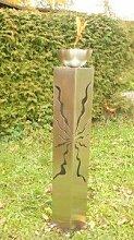Gartendeko Gartenfackel Säule aus Edelstahl 125cm mit Feuerkugel*