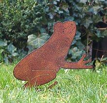 Gartendeko Gartenstecker Roststecker Frosch Edelrost Design - P