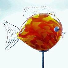 Gartendeko Glas-Minikugelfisch rot, ca. 11 cm, inkl. Edelstahlstab
