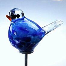 Gartendeko Glas-Minivogel azurblau, ca. 9 cm, inkl. Edelstahlstab
