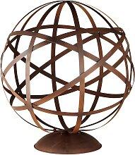 Gartendeko Globus aus braunem Metall, H78