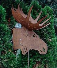Gartendeko großer Elch am Stab Eisen Ros