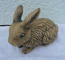 Gartendeko Hase aus Keramik in Handarbeit hergestellt Dekor braun