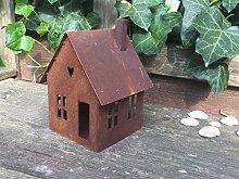 Gartendeko Haus Laterne Gartenlicht zum Stellen Metall Rost Deko