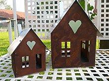 Gartendeko Haus mit Metalldach Laterne Gartenlicht Edelstahl Metall Rost Deko (klein)