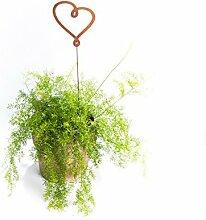 Gartendeko Herz auf Stab gebunden Stecker Metall Rost Deko Begrüßung 80cm