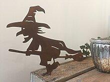 Gartendeko Hexe mit Besen Dorn Halloween Metall Rost Deko