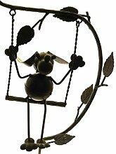 Gartendeko Hund auf Schaukel Metall 24x15x151cm
