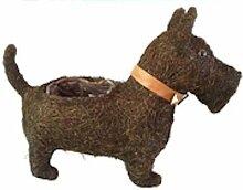 Gartendeko Hund mit Pflanzkorb braun