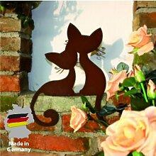 Gartendeko Kantenhocker Katzenpaar 39x35x7cm Rost Handarbeit Metall