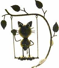 Gartendeko Katze auf Schaukel Metall 24x15x151 cm frei schwingend
