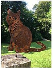 Gartendeko Katze sitzend aus Metall in Rostoptik Baumstecker Zaunstecker mit Schraubgewinde 19 cm