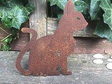 Gartendeko Katze sitzend mit Dorn Baumtier Metall Rost Deko