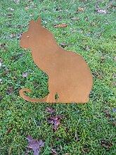 Gartendeko, Katzenfigur, Gartenstecker Katze,