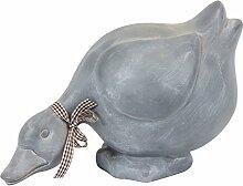 Gartendeko Keramik-Ente Gartenfigur Figur grau L 29 cm Dekoente Tierfigur
