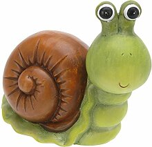 Gartendeko Keramik Tiere grün 17 x 9 x 16 cm - Schnecke