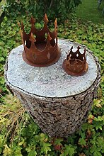 Gartendeko Kerzenhalter Krone mit Dorn zum Befestigen Metall Rost Deko (klein)
