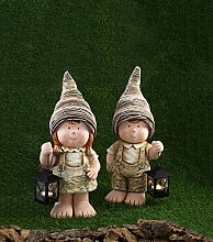 Gartendeko Kinder mit Rattanhut und Laterne 17,5 x 15,5 x 45 cm