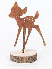 Gartendeko Kitz Bambi mit Dorn Baumtier Metall Rost Deko