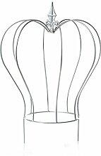 Gartendeko KRONE Gartenkugel silber