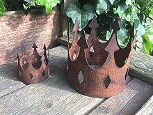 Gartendeko Krone klein offen Metall Rost Deko