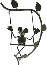 Gartendeko Maus auf Schaukel Metall 24x15x151 cm frei schwingend