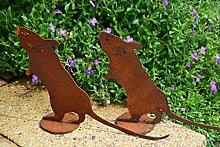 Gartendeko Maus, kleine Maus aus Metall auf Platte, Metall mit Edelrost in braun für Haus und Garten qualitativ hochwertige Ausführung, Höhe 14 cm, Breite 23 cm, Preis pro Stück