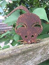 Gartendeko Maus mit Dorn Baumtier Metall Rost Deko