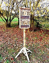Gartendeko nistkästen 130.5 cm GEFLAMMT,NATUR-GEBRANNT für Marienkäfer Schmetterling insektenhotel MIT STÄNDER, mit Holzrinde-Naturdach, FDV-HOST-MS als Ergänzung zum Meisen nistkästen Meisenkasten oder zum Vogelhaus Vogelfutterhaus Futterstation für Vögel Insektenhäuschen - insektenhotels, insektenhotel für ökologische biologische natürliche Blattlausbekämpfung, Marienkäferhaus-Marienkäfer-Marienkäferkasten-Schmetterlingshaus-Schmetterlinge,Gartendeko