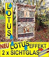 """Gartendeko nistkästen 30.5 cm groß hell GEFLAMMT RUSTIKAL, für Marienkäfer Schmetterling insektenhotel, mit Naturdach, mit Spezialoberflächenbeschichtung """"""""LOTUS"""""""", FDV-HOLO-OS als Ergänzung zum Meisen nistkästen Meisenkasten oder zum Vogelhaus Vogelfutterhaus Futterstation für Vögel Insektenhäuschen - insektenhotels"""
