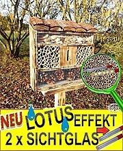 Gartendeko Nistkasten 30.5 cm groß hell GEFLAMMT RUSTIKAL, für Marienkäfer Schmetterling FDV-LOTUS Insektenhotel, mit Lotus-Effekt (Oberfläche WASSERABWEISEND), MIT 2 x BEOBACHTUNGSRÖHRCHEN 8 / 11 mm, komplett mit Zellstoff, insektenhotels mit Holzrinde-Naturdach, FDV-LOTUS-OS als Ergänzung zum Meisen Nistkasten Meisenkasten oder zum Vogelhaus