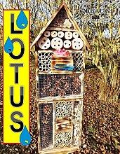 """Gartendeko Nistkasten 50 cm groß hell GEFLAMMT RUSTIKAL, für Marienkäfer Schmetterling INSEKTENHOTEL MIT TRÄNKE SDV-HOLO-OS und FUTTERPLATZ, mit Spezialoberflächenbeschichtung """"""""LOTUS"""""""", Futterstelle, als Ergänzung zum Meisen Nistkasten Meisenkasten oder zum Vogelhaus Vogelfutterhaus Futterstation für Vögel Insektenhäuschen - Insektenhotels, , Marienkäferhaus-Marienkäfer-Marienkäferkasten-Schmetterlingshaus-Schmetterlinge,Gartendeko"""