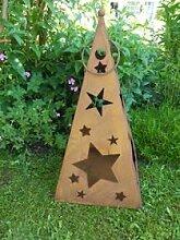 Gartendeko Pyramide mit Sternen Laterne Gartenlicht zum Stellen Metall Rost Deko