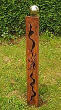 Gartendeko Rost Eisen Säule 100cm mit Muster und