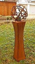 Gartendeko Rost Fackel tailliert 100cm ohne Muster Gartenku0gel Feuerkugel*