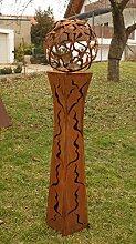 Gartendeko Rost Laternen Fackelsäule Rost Fackel Säule 125cm tailliert mit Feuerkugel *